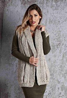 Knitting Models of Plain Purl Thick Cardigan Christmas Knitting Patterns, Jumpers, Mantel, Knit Crochet, Winter Fashion, Stylish, Womens Fashion, Sweaters, Embroidery