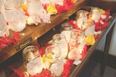 mason jar lights. Thinking this would be super cute for a country bridal shower.
