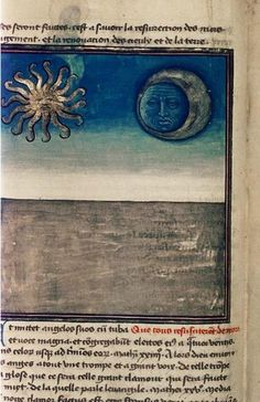 15th century French manuscript: the moon and stars