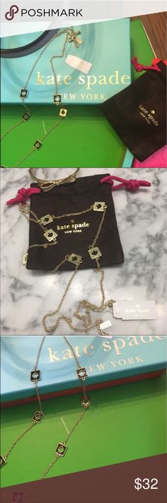 """NWT Kate Spade Reversible Hole Punch Necklace New with Tags &  Approximately 30"""" in length, this listing is for the gold tone with black spades but please see my closet for the same necklace in white/gold. Matching  or contrasting Jelly Pudding earrings will be listed as well.  I will be happy to bundle the 2 pieces at a special price. The greatest thing about this authentic Kate Spade piece is that it can be be reversed and worn as all gold.  Retail price is $68. Comes with KS jewelry dust…"""