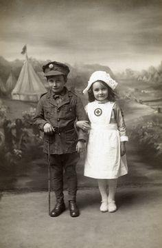 little nurse and soldier, children in uniform, vintage, photo, sapira, cute, history.