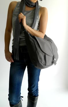 New Year SALE Kylie in gray // Messenger / by christystudio, $37.80