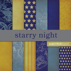 Starry Night Digital Scrapbooking Paper