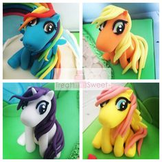Hand modelled my little pony toppers for a 4th birthday cake . Rainbow dash, Fluttershy , Rarity, Applejack
