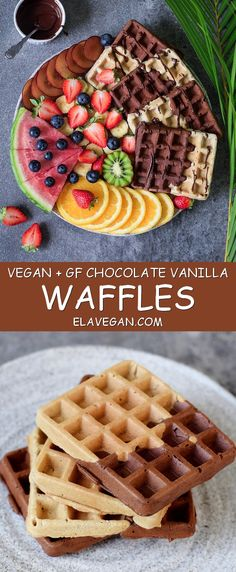 Vegan gluten free waffles with chocolate. This waffle recipe is healthy, refined sugar free, low in fat and easy to make (Vegan Chocolate Waffles) Healthy Gluten Free Recipes, Gluten Free Breakfasts, Vegan Breakfast Recipes, Vegan Gluten Free, Vegan Recipes, Syrup Recipes, Healthy Desserts, Waffle Recipe Uk, Pancake Light