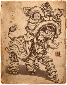 The Clockwork Liondancer is aided by steam-powered machinery to perform the ceremonial dance. Original steampunk character design by concept artist James Ng. Chinese Lion Dance, Steampunk Characters, Chinese New Year Design, Lion Illustration, Lion Drawing, Dancing Drawings, Dragon Dance, Zentangle, Lion Dog