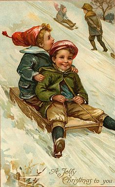 Digital Vintage Christmas Sleigh Ride Image by lisalskinner Vintage Christmas Images, Old Christmas, Old Fashioned Christmas, Christmas Scenes, Victorian Christmas, Retro Christmas, Vintage Holiday, Christmas Pictures, Christmas Wreaths