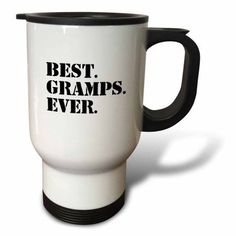 3dRose Best Gramps Ever - Gifts for Grandfathers - Granddad Grandpa nicknames - black text - family gifts, Travel Mug, 14oz, Stainless Steel