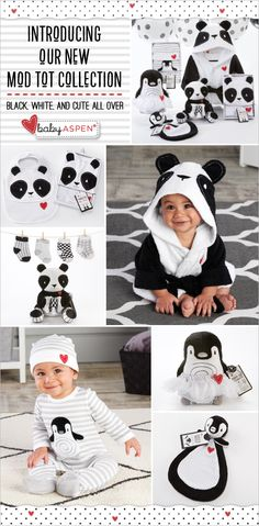 Black, white and cute all over! Pandas and peguins are the cuddly stars of a new mod collection baby is sure to love.