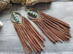 Leather Fringe Earrings Brown Leather Earrings Bronze Bohemian