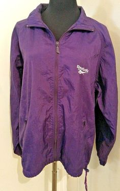 Reebok Windbreaker Jacket Purple 90's Retro White Nylon Vintage Size M #Reebok #Windbreaker