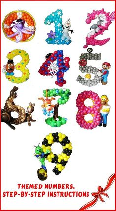 """Themed numbers"" balloons set"
