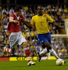 pa-photos_t_photos-young-gareth-bale-football-southampton-gallery-0311c - September 2006: Chasing down Brazil full-back Maicon, for Wales. Irony alert! The match was played at White Hart Lane - double irony alert!!