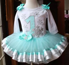 baby girls 1st birthday aqua blue and silver snowflake tutu set winter onederland ribbon trim tutu by TutuCutebyChristyB on Etsy