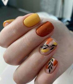 Cute Acrylic Nails, Pastel Nails, Fancy Nails, Bling Nails, Thanksgiving Nails, Pretty Nail Art, Minimalist Nails, Fall Nail Art, Orange Nails
