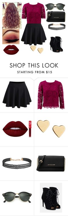 """cute date outfit"" by sarahype on Polyvore featuring WithChic, Nicole Miller, Lime Crime, Lipsy, Humble Chic, Michael Kors, Ray-Ban and JustFab"
