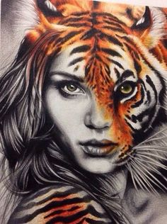 grafika tiger, art, and drawing Amazing Drawings, Cool Drawings, Drawing Sketches, Drawings Of Tigers, Pencil Drawings, Colorful Drawings, Art Tigre, Art Amour, Ouvrages D'art
