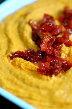 Sun Dried Tomato Hummus Recipe - from @addapinch | Robyn Stone