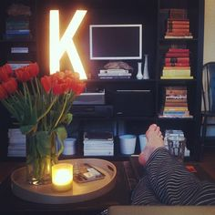 from Wit + Delight - i love the coffee table and book shelf, and large letter, and typewriter, and ....