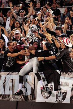 Wide receiver Rod Streater of the Oakland Raiders jumps into RaiderNation! Raiders Football Team, Raiders Players, Raiders Baby, Nfl Football, Oakland Raiders Images, Oakland Raiders Logo, Raider Nation, Raiders Stuff