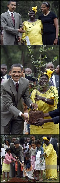 Senator Days 44th President Barack Obama FirstLady Michelle Obama & Their Daughters Malia Obama & Sasha Obama with 2005 Nobel Prize Wangari Maathai plants a tree during a ceremony in Nairobi Kenya August 28, 2006