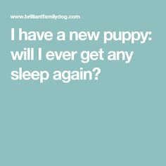 I have a new puppy: will I ever get any sleep again?