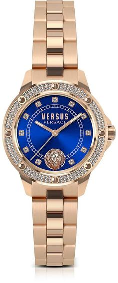 Versace Versus South Horizons Rose Gold Tone Crystal Stainless Steel Women's Bracelet Watch W/blue Dial