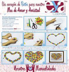 """Ahora que llega """"amor y amistad"""" les traemos un nuevo proyecto: un cuadro de botones, camba y amor… ideal para regalar este mes. ¿Les gusta? #AmoryAmistad #Septiembre #AmigoSecreto #Botones #Decoración #Manualidades #EYAColombia"""