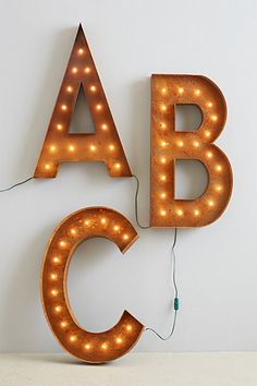 Monogram marquee lights #home #decor