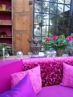 hottest pink sofa and pillows