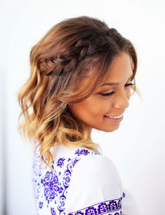 Half Dutch Braided Crown on short ombre hair. Click to learn how to create this easy and effortless hairstyle. Perfect for everyday, or special occasions!