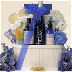 """Give mom a """"Wine & Spa Gift Basket"""" or make one of your own."""