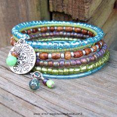 Bohemian Memory Wire Beaded Bracelet by Angelof2 on Etsy, $25.50