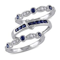 Miadora Signature Collection 10k White Gold Sapphire and 1/6ct TDW Diamond 3-piece Anniversary Stackable Ring Set (G-H, I2-I3) (Size 7), Women's, Blue