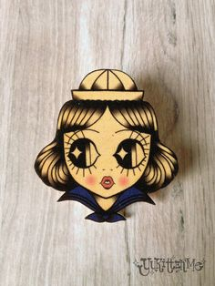 Sailor Girl Traditional Tattoo Brooch/Magnet by Yukittenme on Etsy, $10.00