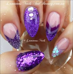 Luminous Nails: Shimmery Purple Nails with Netting & Stars...