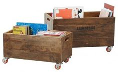 Make storage boxes with wheels. Much easier to pull out to sweep up the dog hair and dust bunnies.