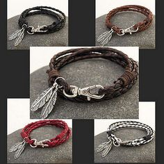 nice  New Fashion Leather Wrap Braided Wristband Cuff Punk Men Women's Bracelet Bangle - For Sale View more at http://shipperscentral.com/wp/product/new-fashion-leather-wrap-braided-wristband-cuff-punk-men-womens-bracelet-bangle-for-sale/