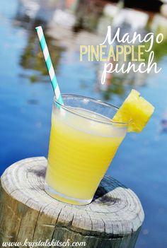 Mango Pineapple Punch Cocktail 6 oz Simply Orange Pineapple Juice 3 oz parts Mango Rum A splash of Sprite