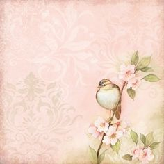 K and Company - Floral Collection - 12 x 12 Paper with Foil Accents - Bird on…
