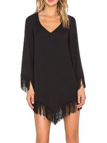 Inexpensive & sexy,, mix it with highs and lows,, I think this maybe my New Years outfit,,,plunged Black+V+Neck+Tassel+Dress+US$16.99
