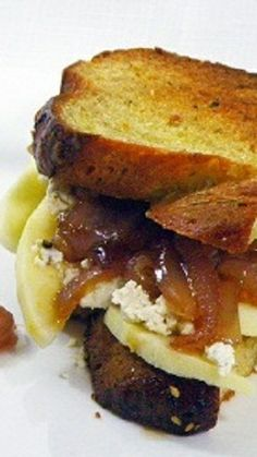 Grilled Cheese Sandwich - Feta, Apple and Caramel Onions... It;s my very favorite sandwich, all made with leftovers and pantry items and simply delicious.  Not pretty, delicious needs to be enough.  Includes easy caramel onion instructions.