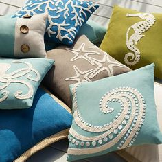 easy to add an ocean vibe to your patio with a few UV-protected outdoor pillows from Pier easy to add an ocean vibe to your patio with a few UV-protected outdoor pillows from Pier Ocean Themes, Beach Themes, Scatter Cushions, Throw Pillows, Coral Pillows, Ocean Bedroom, Diy Bedroom, Diy Y Manualidades, Beach Room