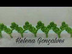 Bico de crochê #139 - YouTube Crochet Edging Patterns, Crochet Borders, Baby Knitting Patterns, Crochet Flowers, Crochet Lace, Chrochet, Needlework, Free Pattern, Diy And Crafts