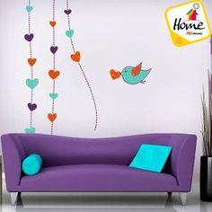 Anímate a decorar tu sala con corazones en tonos azul y morado. http://psipinturas.com.mx/ #PSIPinturas