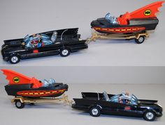 I owned this set as a kid and didn't think about the car having a tow bar. Corgi Batmobile and Batboat, It's amazing and hilarious that Batman's rocket-propelled car has a trailer hitch. Retro Toys, Vintage Toys, 1970s Toys, 1960s, Childhood Toys, Childhood Memories, Batman Y Robin, Corgi Toys, Nostalgia