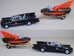 Corgi Batmobile and Batboat, 1970s. It's amazing and hilarious that Batman's rocket-propelled car has a trailer hitch.