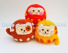 Daruma Japanese wish dolls Kitty Doggy Amigurumi от handmadekitty