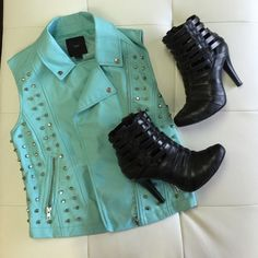 XXI Teal Studded Vest Faux leather, lined on the inside. perfect for the change of season and can be brought into spring! so chic! Jackets & Coats Vests