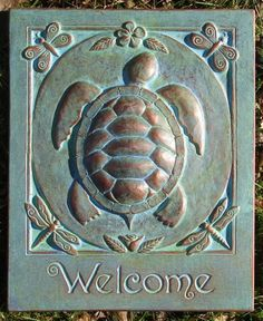 Turtle Welcome Concrete Garden Art Plaque